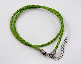 Necklaces leather twisted 430 x 3mm Green set of 2