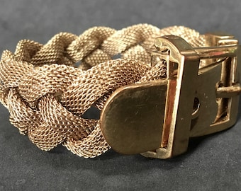 Braided Mesh Bracelet – Buckle Closure – Ralph Lauren 1970s Designer Jewelry