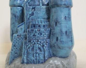 Ceramic  Hand Painted Blue Castle Bank.