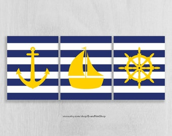 Nautical Nursery Wall Art Prints - Anchor, Sailboat, Ship Wheel - Navy and Yellow Nursery - Nautical Bathroom - Nautical Decor