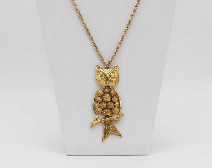 Vintage 1970s Gold Owl Statement Necklace - 44 Inches