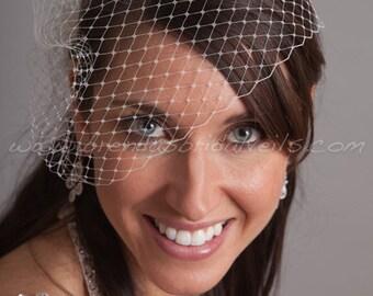 Bridal Veil, Wedge Birdcage Veil, Wedding Veil - White, Ivory, Diamond White, Champagne, Black and More Colors