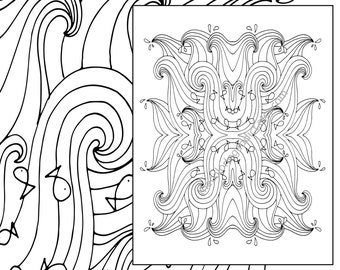 ocean wave adult coloring page, beach adult coloring sheet, colouring sheet, adult colouring book, printable coloring, digital coloring page