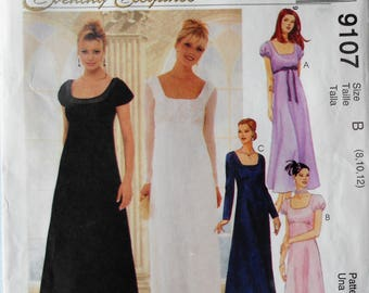 McCall's 9107.  Misses formal dress pattern.  Empire waist dress.  Jane Austen style dress.  Maxi dress pattern. Long formal dress. Sz 8-12.