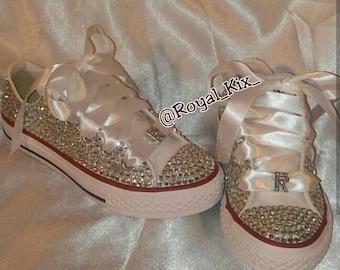 Bling Converse / Diamonds/ Crystals / Chucks / Birthdays / Girls / Womens / Ribbon / Name / Initial / Kids ahoes