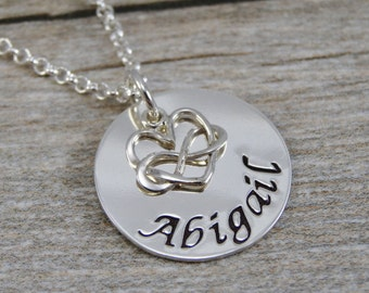 Mom Necklace - Hand Stamped Jewelry - Personalized Jewelry - Sterling Silver Necklace - Tiny Infinity Heart Charm - Name