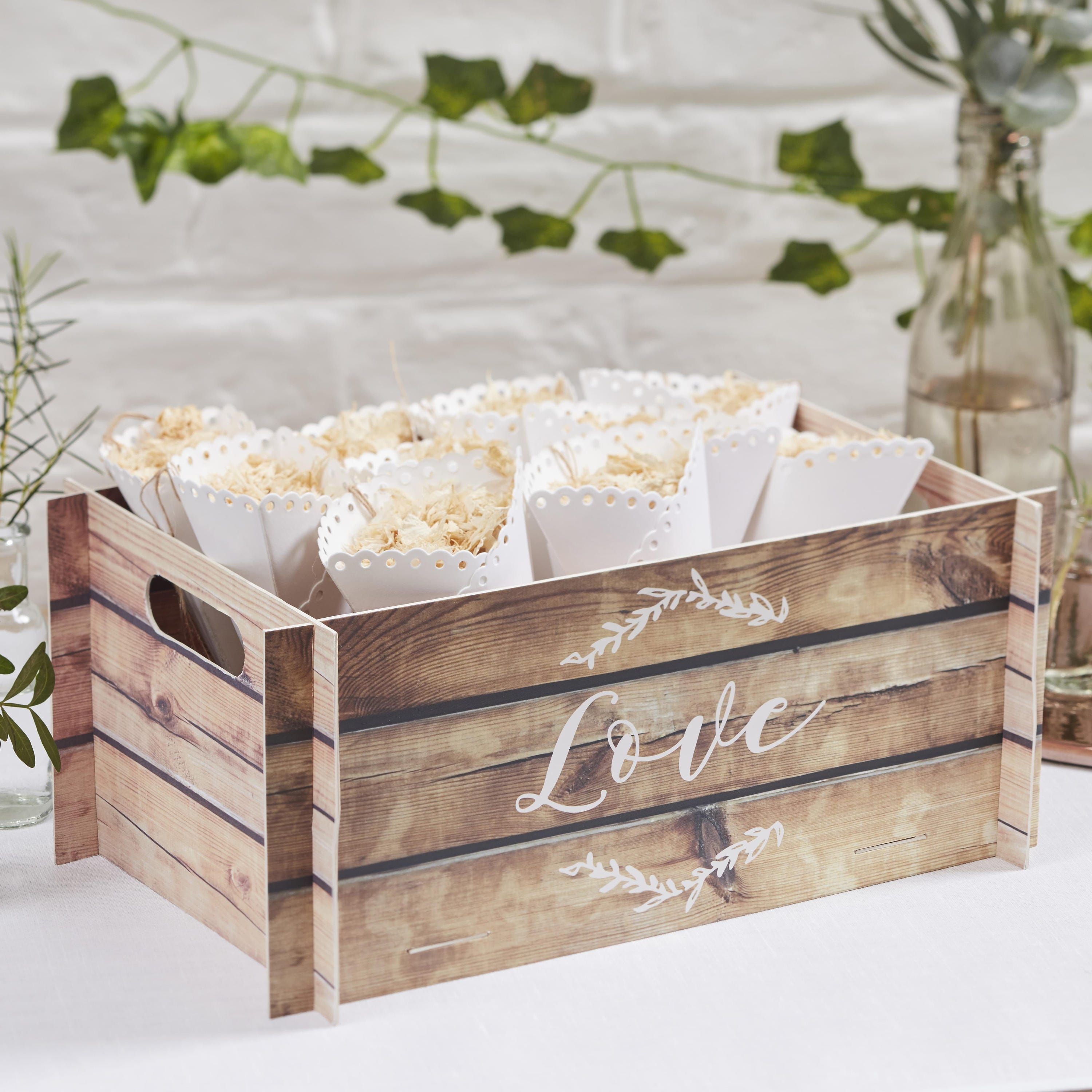 wooden effect card crate confetti cone holder wedding cards