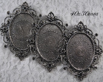 "40x30mm Antique Silver Setting - ""Enchantment II"" - 3 pcs : sku 10.24.12.7 - R15"