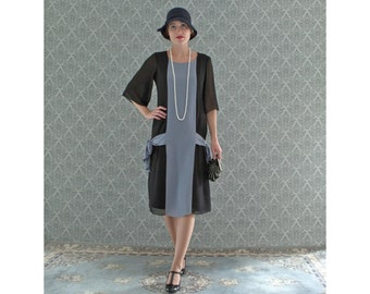 Black and grey Roaring 20s dress with sleeves, 1920s flapper dress, Great Gatsby dress, Art Deco fashion, robe Charleston, 1920er kleider