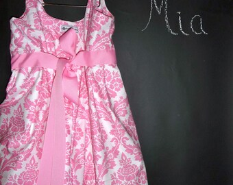 Balloon DRESS - Pink Damask - Pick the size Newborn up to 12 Years - by Boutique Mia