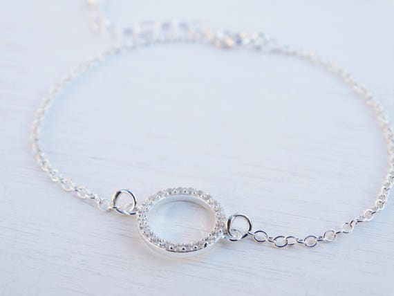 Silver Circle Bracelet, Cubic Zirconia, Sterling Silver