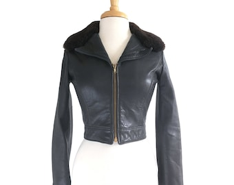 ON HOLD 70s Leather Bomber Jacket Shearling Collar XS Small Vintage 1970s Brown