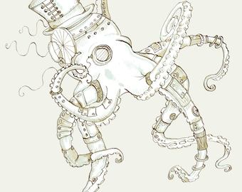 Men's Steampunk T-shirt- Octopus