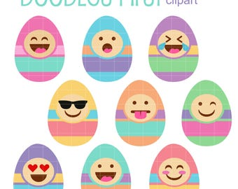 Easter Egg Faces Digital Clip Art for Scrapbooking Card Making Cupcake Toppers Paper Crafts