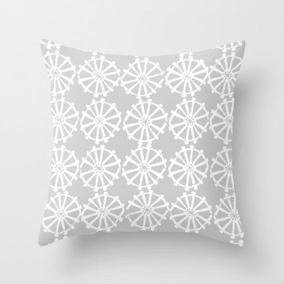OUTDOOR Throw Pillow . Silver Gray Outdoor Pillow . Grey patio cushion . Modern Geometric Pillow Wheel . 16 18 20 inch . Lumbar Pillow