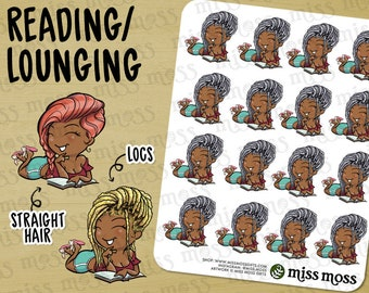 Reading Book Lover Lounging Stickers, BROWN Skin, Plus Size Curvy, African American - Erin Condren, Dreadlocks, Lazy Day, Decorative