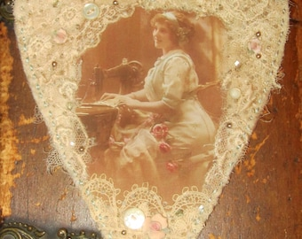 Vintage Image Sewing French Lady Lace Collage Heart Ornament