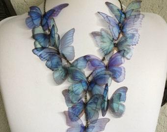 Iridescence - fait à la main Morpho bleu Organza de soie papillons collier, collier - unique en son genre