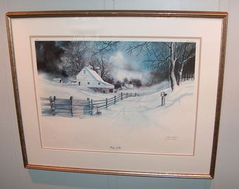 "8206: Vintage James D Werline ""Stony Hollow"" Lithograph Print Artist Signed & Numbered Limited Edition Framed at Vintageway Furniture"