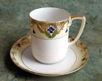 Vintage Antique Nippon Edwardian Small Cup & Saucer - Hand Painted Japanese 1891-1921 - Only 1 Left - Edwardian Garlands - Fine Bone China