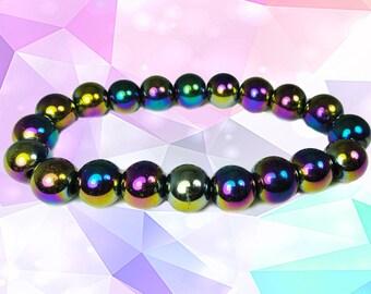Hematite Rainbow Stretch Bracelet