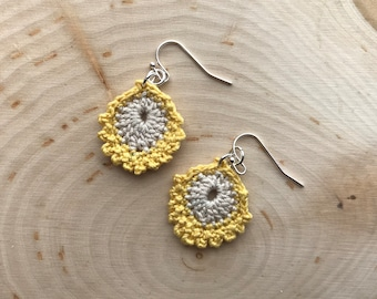 Crocheted Feather Earrings