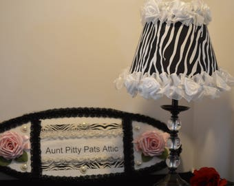 Zebra Lamp Shade With White Rose Organza Trim,Original SHADY LADY SHADES By Alice, Free Shipping