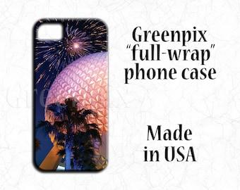 Disney iPhone X case, Disney iPhone 8 case PLUS, Disney iPhone 7 case, Disney iPhone 6 6S case, fireworks, EPCOT Spaceship Earth phone cover