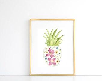 Floral Pineapple Watercolor Print, Pineapple Decor, Tropical Decor