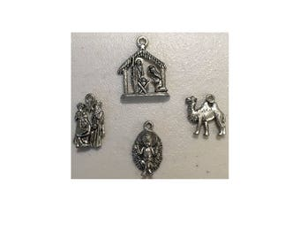 Christmas Nativity Set CHARMS (4) charm antique pewter - 4 charms per pack
