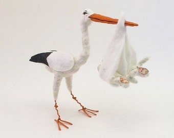 Vintage Inspired Spun Cotton Stork Carrying Twins Figure/Ornament (READY TO SHIP)