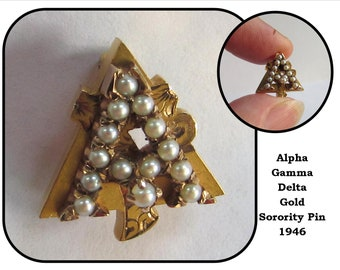 Vintage Small Gold Sorority Pin Brooch w/ Seed Pearls, 1946, Alpha Gamma Delta AGD, University of Washington