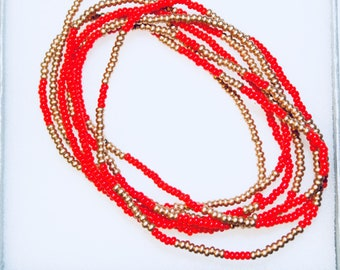 Red and Gold Beaded Wrap-Around Bracelet