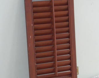 "Vintage Wood Louvered Shutter 18.5"" tall"