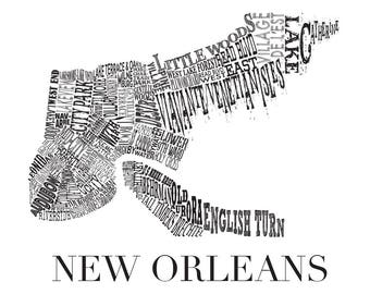 "New Orleans Neighborhood Map 11 x 14"" Print"
