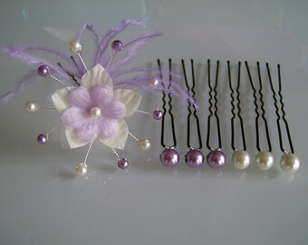 Lot Pic/jewel/pins/clips/bun hair accessory ivory/purple/violet/purple light p dress Fleur bridal/wedding/evening/beads/feathers (cheap)