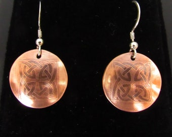 Handmade Etched and Domed Earrings, Celtic Design, Copper and Sterling Silver