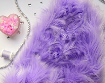 Lavender Faux Fur Craft Squares- Lavender Faux Fur Fabric, Lavender Fake Fur, Lavender Craft Fur, Light Purple Fur, Lilac Faux Fur