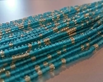 "African Waist Beads --  Caribbean Shores -- 43"" : Seed Beads, Glass beads, African Beads, Toma Beads"