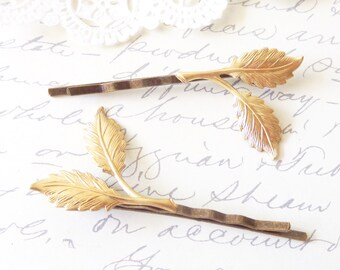 Golden Leaf Branch Bobby Pin Set - Woodland Collection - Whimsical - Nature - Bridal