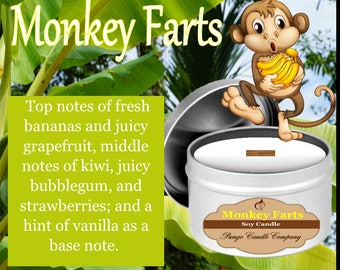 Monkey Farts Scented Soy Candle Tin (8 oz.)