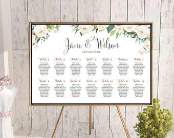 Wedding Seating Chart, White Ivory Flower Printable Custom Wedding Seating Poster, Wedding Chart Sign, Wedding Seating Board - TH61 dd WC141