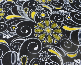 2 1/2 Yards Fabric Traditions Black and Yellow and White Big Swirly Floral Print Cotton Fabric Bold Floral Print Dark and Bright Swirls