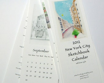 NYC Sketchbook Calendar 2012 -  kitchen bedside or office - slim - 3.75 by 11 inches - b&w and color sketches