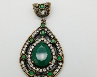 Vintage Dual Tone Sterling Silver & Gold Vermeil Teardrop Green Onyx, Emerald, and White Topaz Pendant