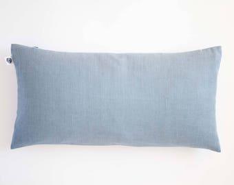 Dusty blue lumbar throw pillow cover for bedding decor, linen decorative pillow custom size, oblong pillow cover