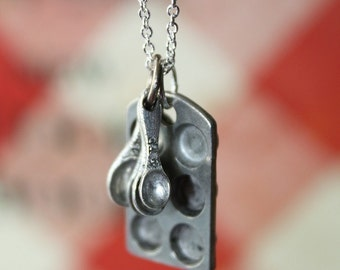 Cupcake Muffin Pan and Tiny Measuring Spoons on a Sterling Silver Plated Chain