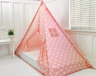 Play Tent Canopy Bed in Peachy Pink Polka Dot Cotton