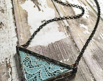 Something Blue, Soldered Glass Necklace, Vintage Lace, Vintage Wedding, Artisan Jewelry, Geometric Necklace, Rustic Style