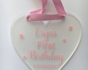 Personalised Baby's Birthday Gift, First Birthday Gift, 1st Birthday Keepsake, Personalised Decoration, Birthday Keepsake, Birthday Gift